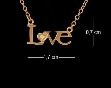 Corrente folheada a ouro com pingente Love